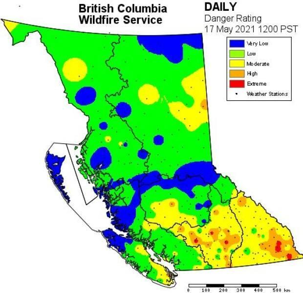 Pockets of high to extreme fire danger can be seen in the B.C. Wildfire Service daily rating of danger zones in the province which was released at 12:00 p.m. PT.