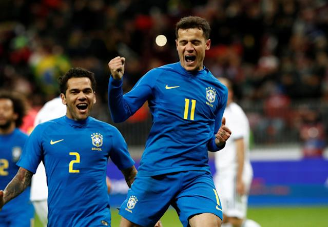 Soccer Football - International Friendly - Russia vs Brazil - Luzhniki Stadium, Moscow, Russia - March 23, 2018 Brazil's Philippe Coutinho celebrates with Dani Alves after scoring their second goal REUTERS/Sergei Karpukhin TPX IMAGES OF THE DAY