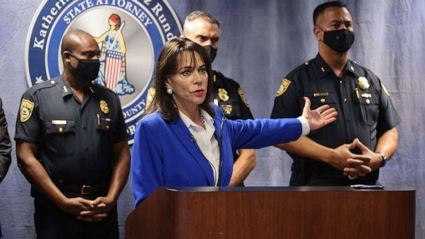 PHOTO: State Attorney Katherine Fernandez Rundle announces the arrest of Miami Beach police officers and shares the video involved with a rough arrest last week at the Miami-Dade State Attorney's Office, Aug. 2, 2021, in Miami. (Carl Juste/Miami Herald/TNS via Newscom)