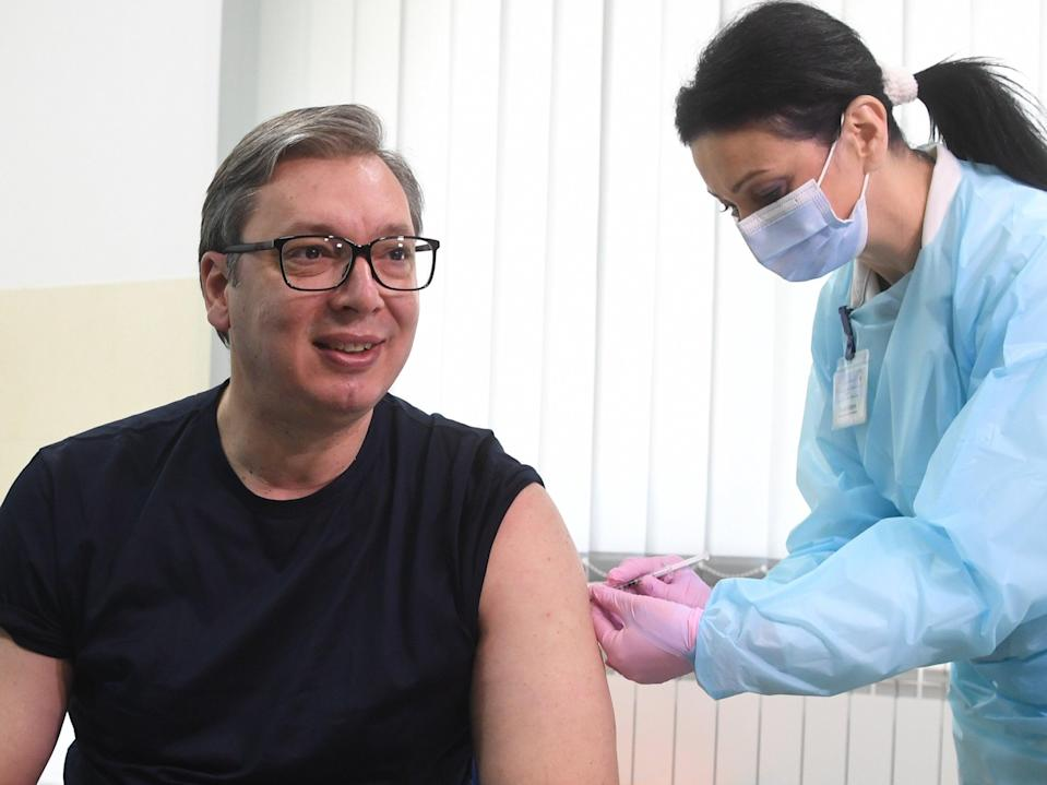 Serbian president Aleksandar Vucic got his Chinese vaccine last week (EPA)