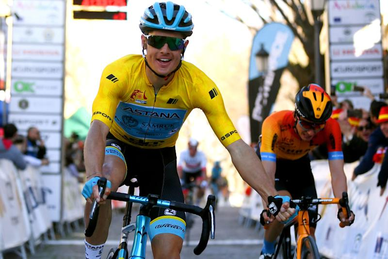 BEDA SPAIN FEBRUARY 21 Arrival Jakob Fuglsang of Denmark and Astana Pro Team Yellow Leader Jersey Celebration Pello Bilbao of Spain Team Bahrain McLaren during the 66th Vuelta a Andaluca Ruta del Sol 2020 Stage 3 a 1769km stage from Jan to beda 727m VCANDALUCIA UCIProSeries on February 21 2020 in beda Spain Photo by David RamosGetty Images