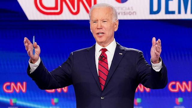 Joe Biden at the 11th Democratic presidential candidates debate, in Washington, D.C., on Sunday. (Kevin Lamarque/Reuters)