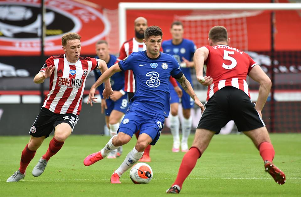 Christian Pulisic (middle) and Chelsea were shut down by Sheffield United on Saturday, losing 3-0. (Reuters)