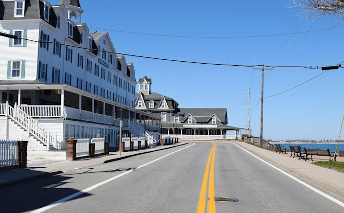 An empty Water Street is seen on Block Island on March 26. (Photo: Kari Curtis for HuffPost)