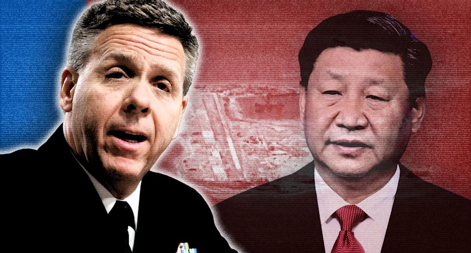 U.S. Navy Adm. Philip Davidson, left, and Chinese President Xi Jinping; background, the waters at Fiery Cross Reef. (Photo illustration: Yahoo News; photos: Carolyn Kaster/AP, U.S. Navy/Handout via Reuters, AP)