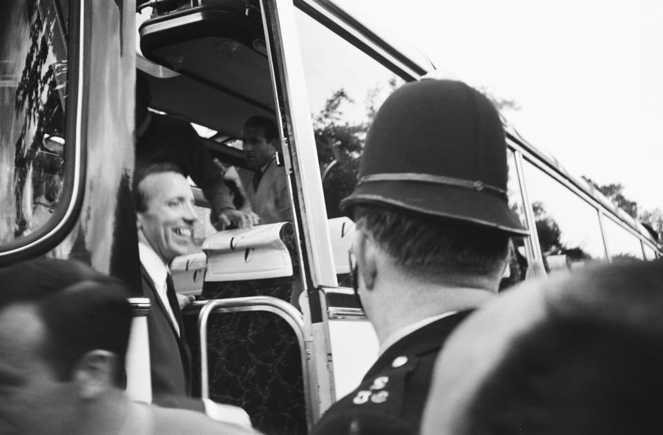 England footballer Nobby Stiles travels to Wembley with the rest of the England team from Hendon Hall hotel for the World Cup Final. 30th July 1966.