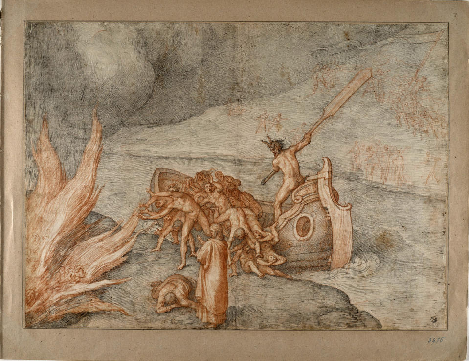 """This image made available on Thursday, Dec. 31, 2020, shows Caronte, one of the original 88 drawings that went with Dante Alighieri's Divine Comedy by artist Federico Zuccari. Florence's Uffizi Gallery is making available for viewing online 88 rarely displayed drawings of Dante's Divine Comedy to mark the 700th anniversary in 2021 of the famed Italian poet's death. The virtual show of high-resolution images of works by the 16th Century Renaissance artist Federico Zuccari will be accessible from Friday """"for free, any hour of the day, for everyone,'' said Uffizi director Eike Schmidt. (Roberto Palermo/Uffizi Gallery via AP)"""
