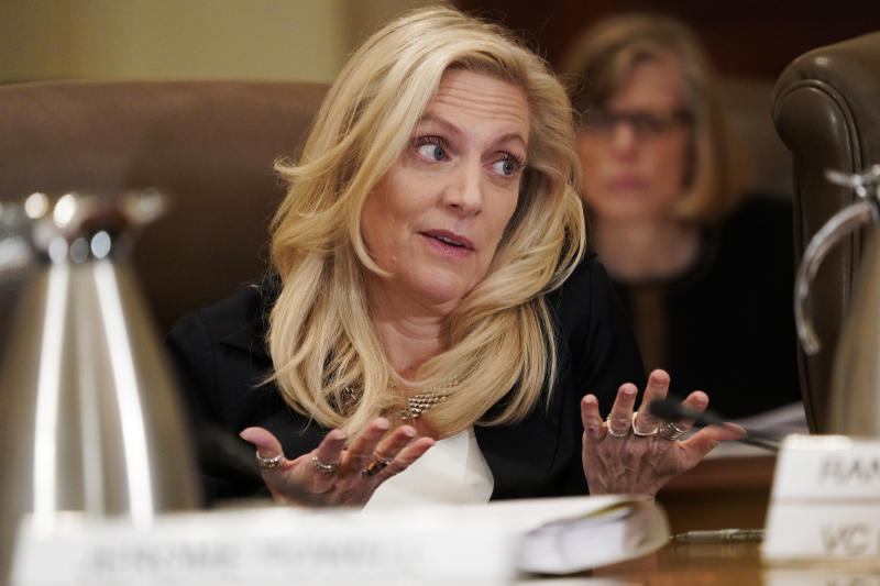 Federal Reserve Governor Lael Brainard, speaks as the Federal Reserve Board holds a meeting to discuss proposed rules to modify the enhanced prudential standard framework for large banking organizations, Wednesday, Oct. 31, 2018, at the Marriner S. Eccles Federal Reserve Board Building in Washington. (AP Photo/Jacquelyn Martin)