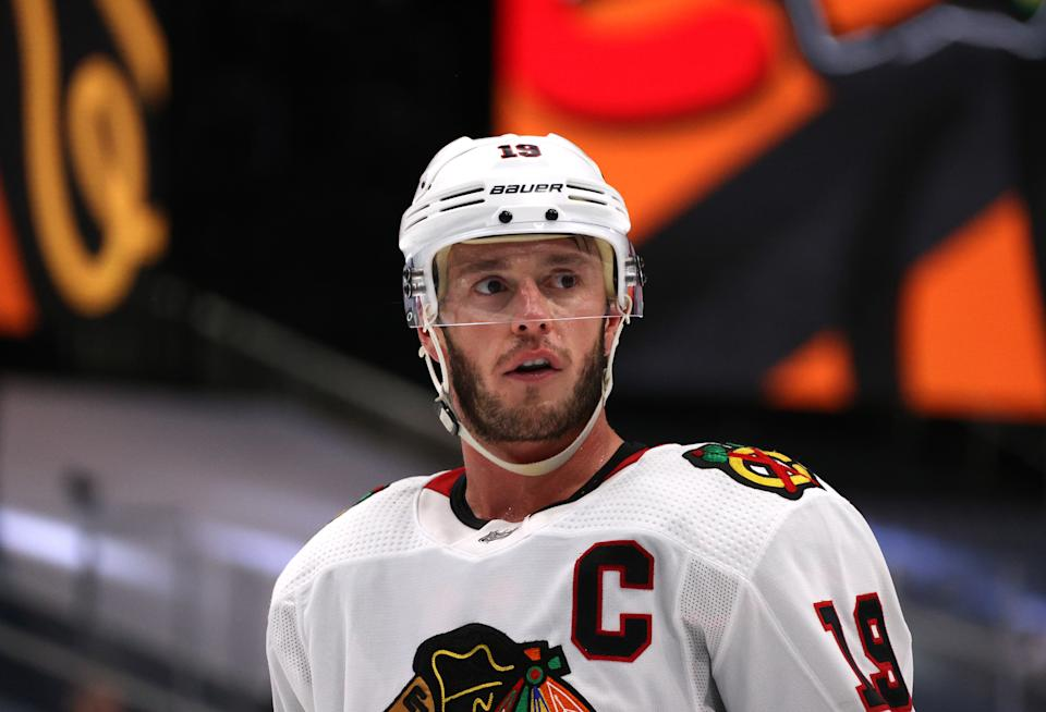 EDMONTON, ALBERTA - AUGUST 18: Jonathan Toews #19 of the Chicago Blackhawks looks on while playing against the Vegas Golden Knights during the third period of Game Five of the Western Conference First Round of the 2020 NHL Stanley Cup Playoff at Rogers Place on August 18, 2020 in Edmonton, Alberta. (Photo by Dave Sandford/NHLI via Getty Images)