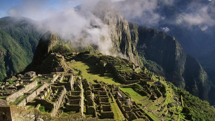 The Inca city of Machu Picchu is located high in the Andes Mountains