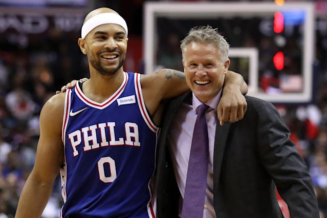 "The <a class=""link rapid-noclick-resp"" href=""/nba/teams/phi"" data-ylk=""slk:Philadelphia 76ers"">Philadelphia 76ers</a> have reportedly reached a deal with head coach Brett Brown, keeping him with the team through the 2021-2022 season. (Getty Images)"