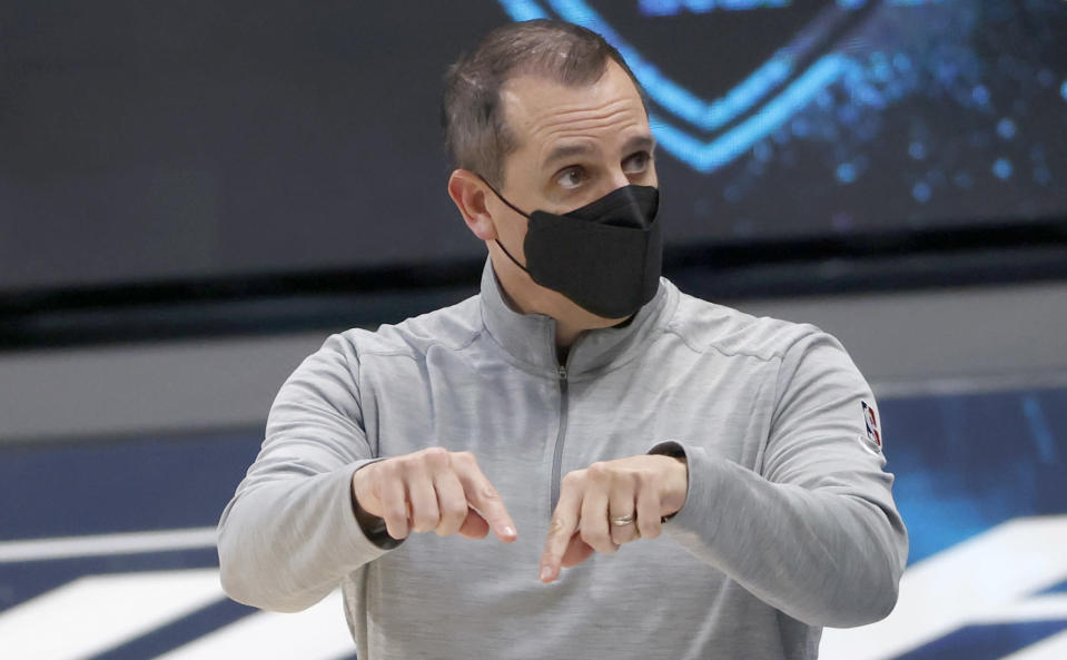 Los Angeles Lakers coach Frank Vogel calls a play as the Lakers played the Dallas Mavericks during the first half of an NBA basketball game Saturday, April 24, 2021, in Dallas. (AP Photo/Ron Jenkins)