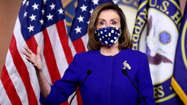 PHOTO: House Speaker Nancy Pelosi speaks about the need for additional coronavirus relief during her weekly news conference with Capitol Hill reporters in Washington, Oct. 22, 2020. (Hannah Mckay/Reuters)