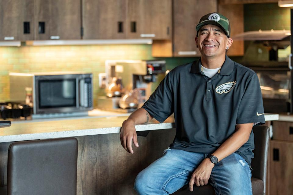 """Jasten """"Jazz"""" Bears Tail looks on in the kitchen area of the men's lodging space at the Good Road Recovery Center in Bismarck, North Dakota. Bears Tail became a peer warrior at the center in October of 2020 after going through the program a few times himself. """"It's just giving back to what was done for me,"""" Bears Tail said. """"I recently lost a family member around Christmas to fentanyl. The drug abuse here is spreading fast."""" June 22, 2021"""