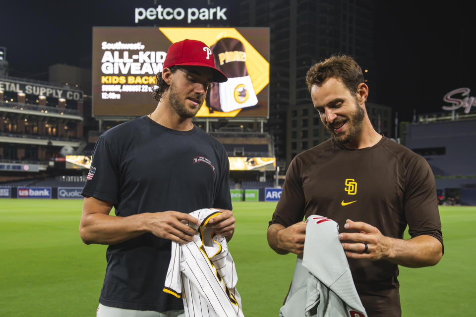 The Padres' Austin Nola and little brother Aaron Nola of the Philadelphia Phillies faced each other in an MLB game for the first time. (Matt Thomas/San Diego Padres/Getty Images)