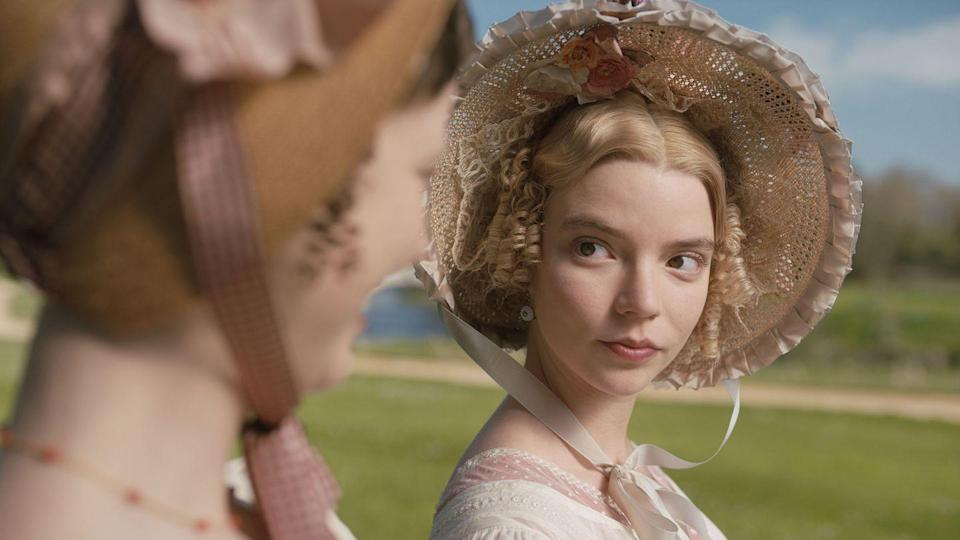 """<p>Autumn de Wilde's stylish 2020 adaptation of Jane Austen's novel brings out the modern notes in the Regency era-set story. It follows a <a href=""""https://www.oprahdaily.com/entertainment/a31248984/anya-taylor-joy-emma-movie-interview/"""" rel=""""nofollow noopener"""" target=""""_blank"""" data-ylk=""""slk:know-it-all teenager's (Anya Taylor-Joy)"""" class=""""link rapid-noclick-resp"""">know-it-all teenager's (Anya Taylor-Joy) </a>disastrous matchmaking attempts, with her friend George Knightley (Johnny Flynn), watching on skeptically. Flynn and Taylor-Joy have the ineffable chemistry that makes on-screen love seem real. </p><p><a class=""""link rapid-noclick-resp"""" href=""""https://www.amazon.com/gp/video/detail/amzn1.dv.gti.68b81ae6-cd3b-ceb7-31ab-b4cc55091dd5?autoplay=1&ref_=atv_cf_strg_wb&tag=syn-yahoo-20&ascsubtag=%5Bartid%7C10072.g.33383086%5Bsrc%7Cyahoo-us"""" rel=""""nofollow noopener"""" target=""""_blank"""" data-ylk=""""slk:Watch Now"""">Watch Now</a></p>"""
