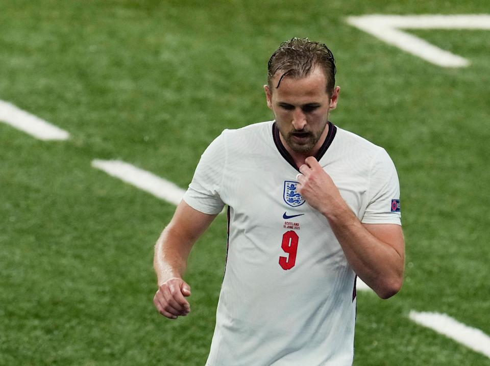 Harry Kane is substituted during England's draw with Scotland (POOL/AFP via Getty Images)