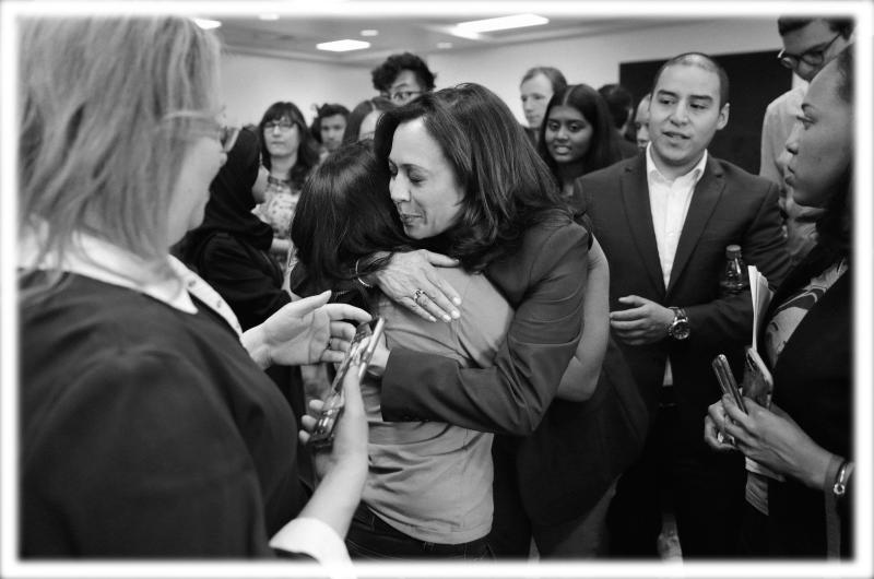 Sen. Kamala Harris at an immigration roundtable at the University of Nevada, Las Vegas, in June. (Photo: John Locher/AP; digitally enhanced by Yahoo News)