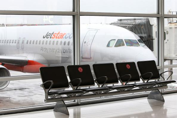 A Jetstar aircraft is seen at the Sydney Domestic Airport Terminal in Sydney, Australia.