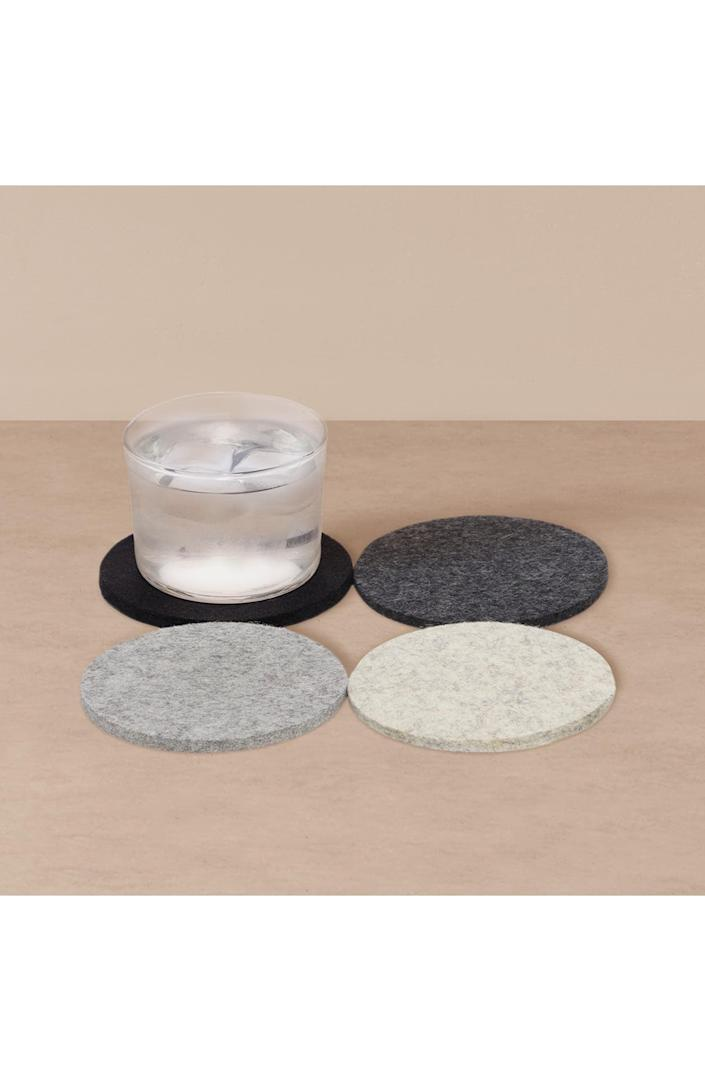 <p>These <span>Goodee x Graf Lantz 4-Pack Round Merino Wool Coasters</span> ($24) are minimal, and will look good in any home.</p>