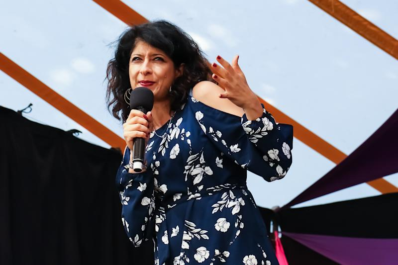 SOUTHWOLD, ENGLAND - JULY 14: Shappi Khorsandi performs on the comedy stage at Latitude Festival in Henham Park Estate on July 14, 2018 in Southwold, England. (Photo by Carla Speight/WireImage)