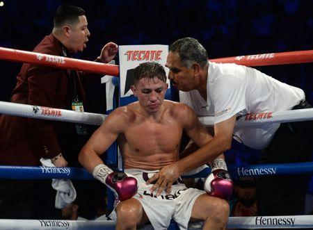 Sep 15, 2018; Las Vegas, NV, USA; Gennady Golovkin (white trunks) gets instructions from trainer Abel Sanchez in the middleweight world championship boxing match against Canelo Alvarez (not pictured) at T-Mobile Arena. Alvarez won via majority decision. Mandatory Credit: Joe Camporeale-USA TODAY Sports