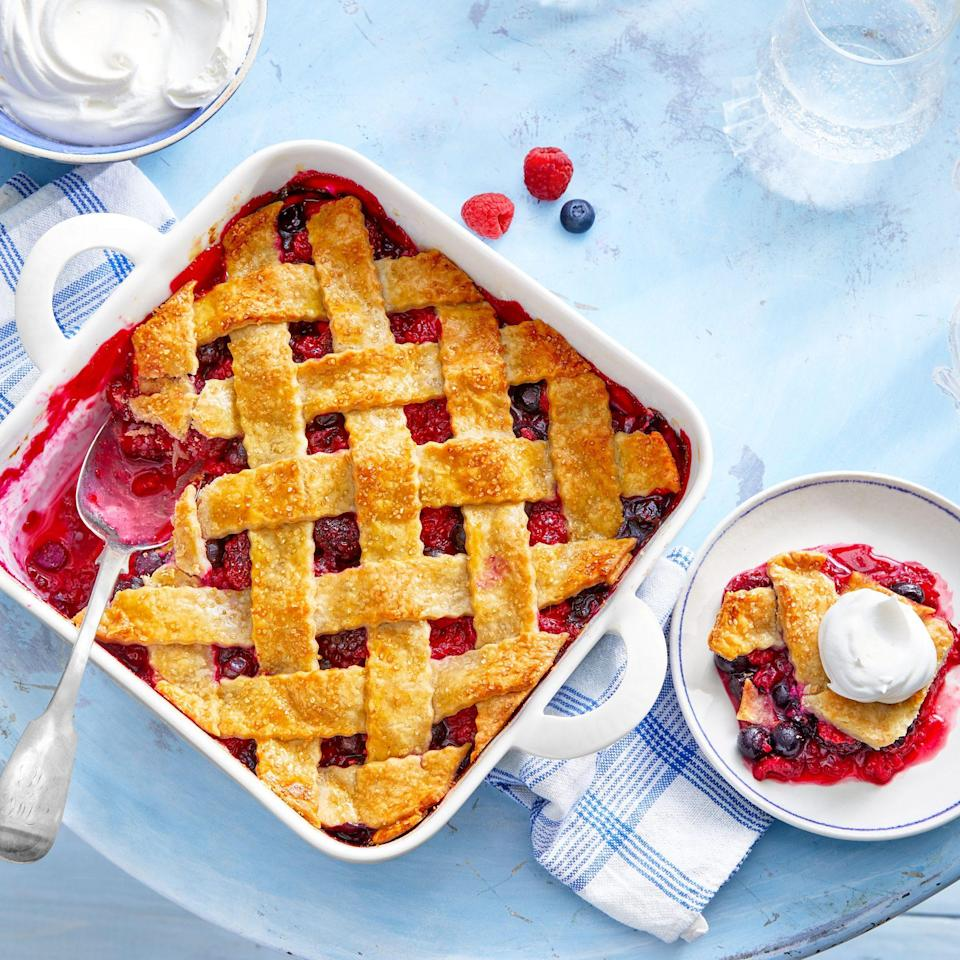 "<p><strong>Recipe: </strong><a href=""https://www.southernliving.com/recipes/deep-dish-berry-cobbler"" rel=""nofollow noopener"" target=""_blank"" data-ylk=""slk:Deep-Dish Berry Cobbler"" class=""link rapid-noclick-resp""><strong>Deep-Dish Berry Cobbler</strong></a></p> <p>This May 2020 cover recipe was a hit with readers. They loved how versatile the filling is (use whatever fruit you have!) and how easy it was to make a pretty lattice topping with refrigerated pie crusts.</p>"