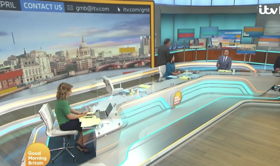 Piers Morgan stormed off of GMB after being challenged by Alex Beresford. (ITV)