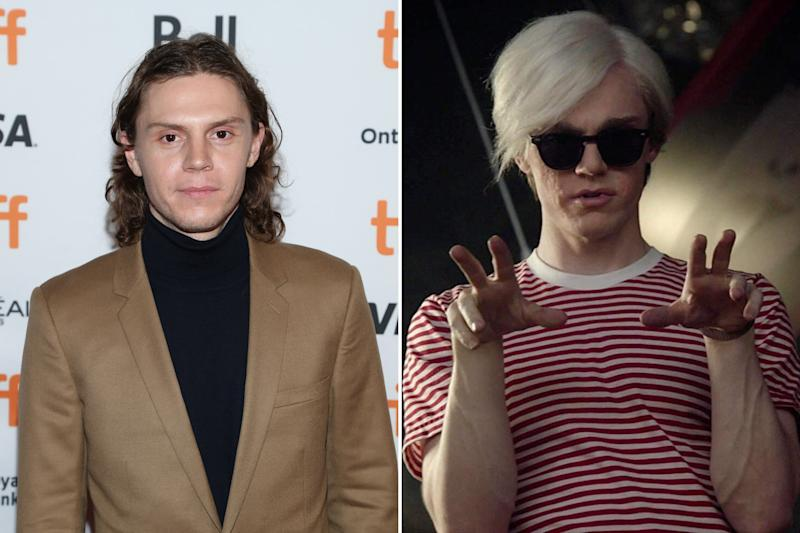 """Evan Peters mostly fills the role of """"confused young man"""" in the series, but he got to stretch his skills in Cult for a segment in which he played Warhol. Photos courtesy of Getty Images and IMDB."""