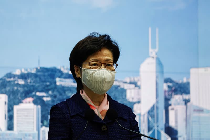 Hong Kong's Chief Executive Carrie Lam attends a news conference in Hong Kong