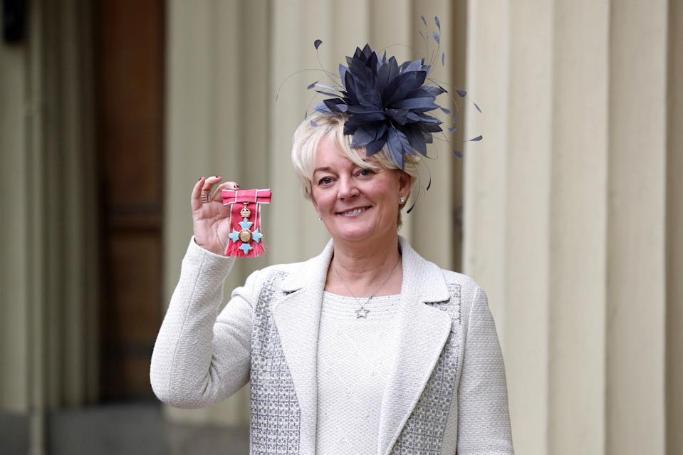 Entrepreneur Jo Malone after being made a CBE at an investiture ceremony at Buckingham Palace, London.