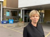 Malin Roos, manager at Graberget nursing home, poses for a photo, in Gothenburg