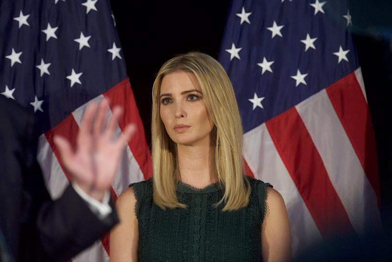 Ivanka Trump looks on as her her father, Republican presidential hopeful Donald Trump, speaks during a campaign event at the Aston Township Community Center on Sept. 13 in Aston, Pa. (Photo: Mark Makela/Getty Images)