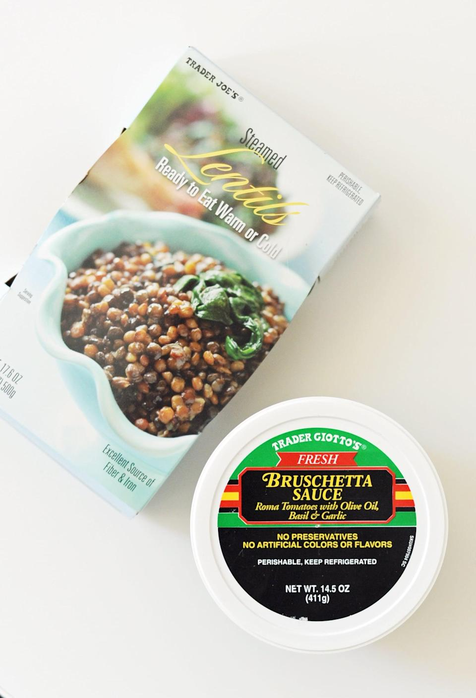<p>In the ulimate TJ's hack, we learned that combining a pack of the precooked lentils into the packaged bruschetta mix makes the perfect dip for topping bread or snacking on with crackers. It's zesty, bold, and rich, and it's always a hit when I bring it out to share.</p>