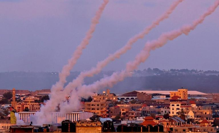 Rockets are launched towards Israel from the southern Gaza Strip, on May 17, 2021.