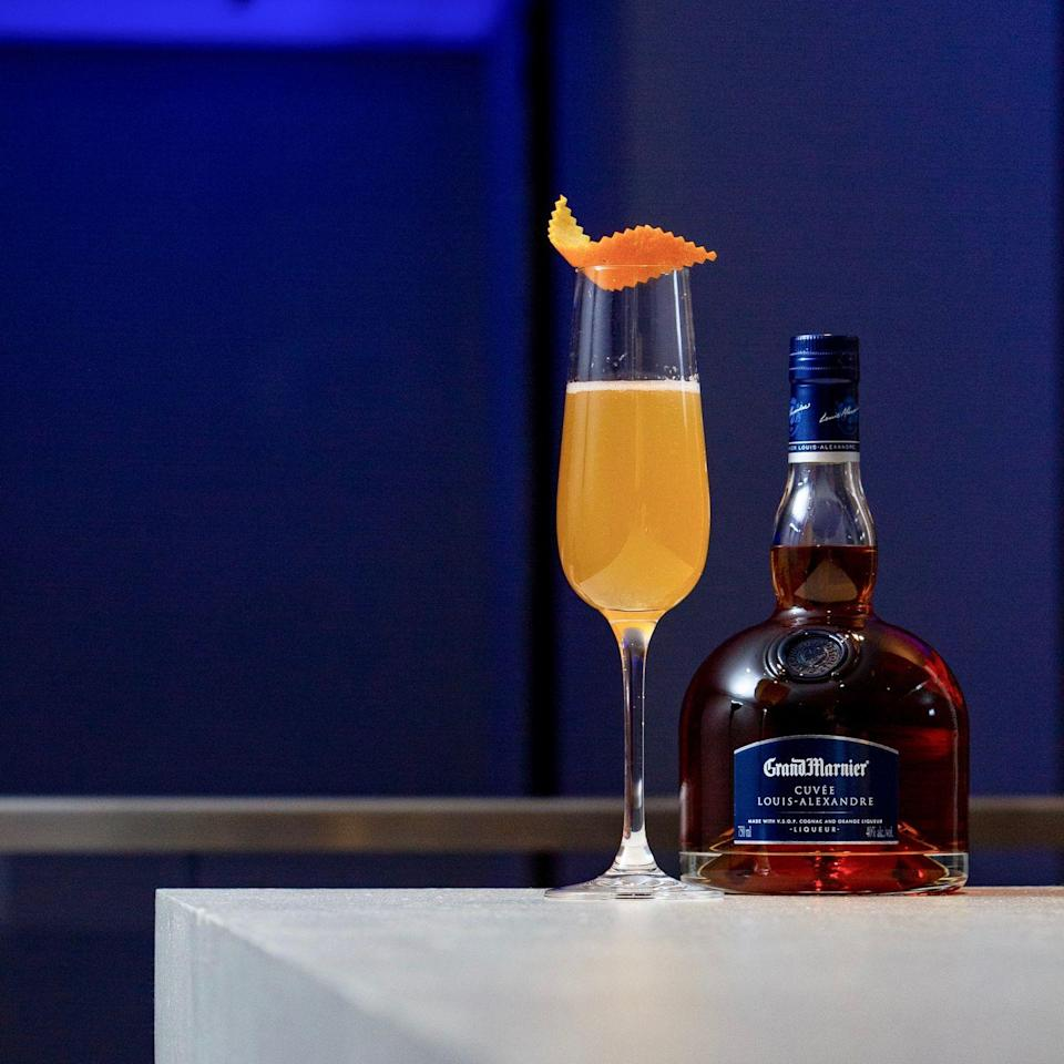 """<p><strong>Ingredients</strong></p><p>1.5 oz Grand Marnier Cordon Rouge<br>.75 oz fresh lemon juice<br>1 bar spoon simple syrup<br>Dry champagne to top</p><p><strong>Instructions</strong></p><p>Combine all ingredients in a champagne flute. Garnish with orange zest.</p><p><strong>More: </strong><a href=""""//www.townandcountrymag.com/leisure/drinks/how-to/g610/best-champagne-cocktail-recipes/"""" data-ylk=""""slk:Champagne Cocktails for Your Next Celebration"""" class=""""link rapid-noclick-resp"""">Champagne Cocktails for Your Next Celebration</a></p>"""