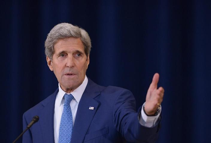 """US Secretary of State John Kerry speaks during the release of the """"2015 Trafficking in Persons Report"""" on July 27, 2015 at the State Department in Washington, DC (AFP Photo/Mandel Ngan)"""