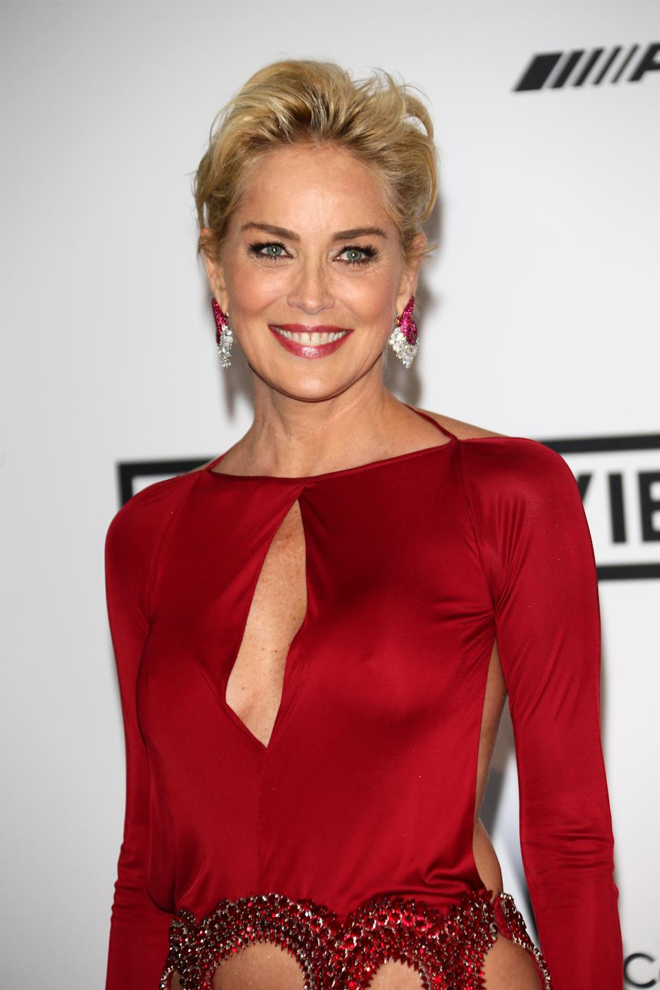 Sharon Stone attends amfAR's 21st Cinema Against AIDS Gala Presented By WORLDVIEW, BOLD FILMS, And BVLGARI at Hotel du Cap-Eden-Roc on May 22, 2014 in Cap d'Antibes, France.