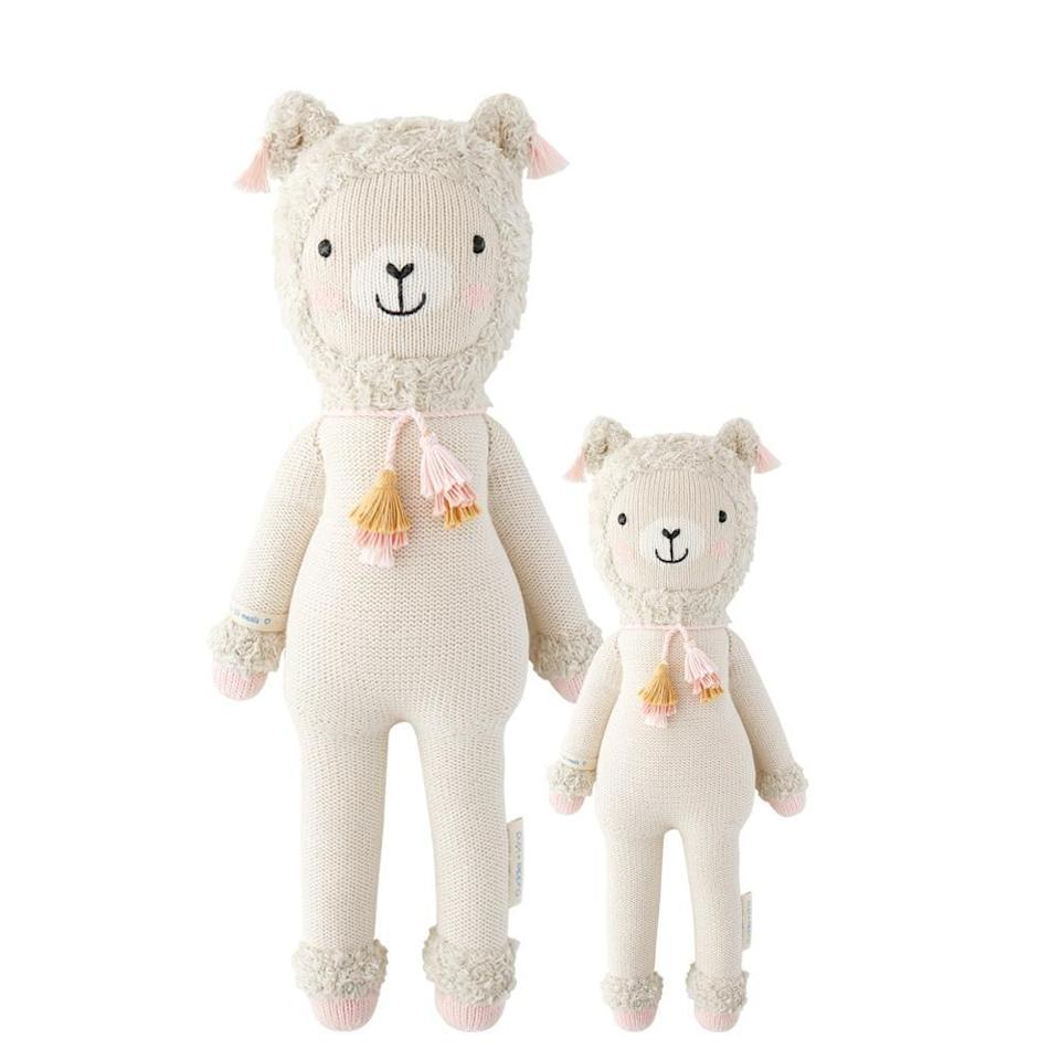 """<p><strong>Cuddle + Kind</strong></p><p>cuddleandkind.com</p><p><strong>$55.00</strong></p><p><a href=""""https://cuddleandkind.com/collections/hand-knit-dolls/products/lola-the-llama"""" rel=""""nofollow noopener"""" target=""""_blank"""" data-ylk=""""slk:Shop Now"""" class=""""link rapid-noclick-resp"""">Shop Now</a></p><p>Hand knit with premium 100 percent cotton yarn, for every doll purchased, 10 meals go to children in need.</p>"""