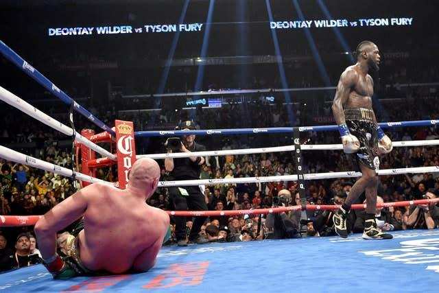 Tyson Fury was knocked down twice by Deontay Wilder in their first encounter (Lionel Hahn/PA)