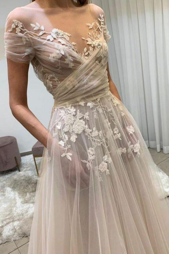 Sheer wedding gown see-through bodice and pockets 2020