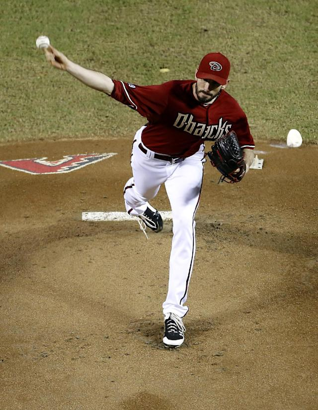 Arizona Diamondbacks pitcher Brandon McCarthy delivers against the Los Angeles Dodgers during the first inning of a baseball game on Wednesday, Sept. 18, 2013, in Phoenix. (AP Photo/Matt York)