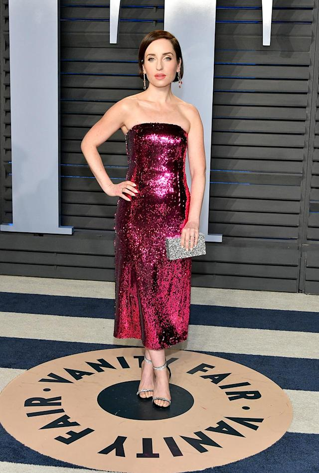<p><em>Life in Pieces</em> star Zoe Lister-Jones popped in pink sparkles at the <em>Vanity Fair </em>event. (Photo: Dia Dipasupil/Getty Images) </p>