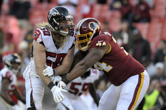 Atlanta Falcons defensive end Brooks Reed (50) rushes against Washington Redskins offensive tackle Geron Christian (74) during an NFL football game between the Atlanta Falcons and Washington Redskins, Sunday, Nov. 4, 2018, in Landover, Md. (AP Photo/Mark Tenally)