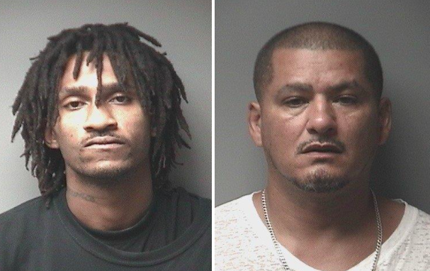 Vernon Barrett Jr.,25, and Dion Santiago, 48, were arrested on Saturday following a neighborhood shooting involving a clown mask, authorities said. (Boardman Police)