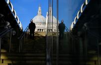 A man walks near St. Paul's cathedral amidst the COVID-19 pandemic, London, Britain