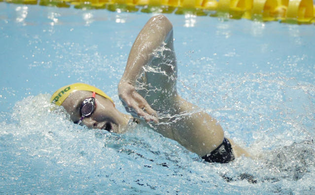 Australia's Ariame Titmus swims in the women's 400m freestyle final at the World Swimming Championships in Gwangju, South Korea, Sunday, July 21, 2019. (AP Photo/Mark Schiefelbein)