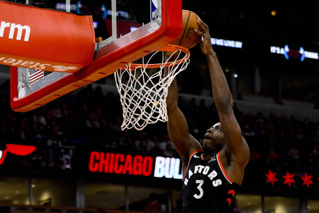 Toronto Raptors forward OG Anunoby (3) dunks the ball against the Chicago Bulls during the first half of an NBA basketball game Saturday Oct. 26, 2019, in Chicago. (AP Photo/Matt Marton)