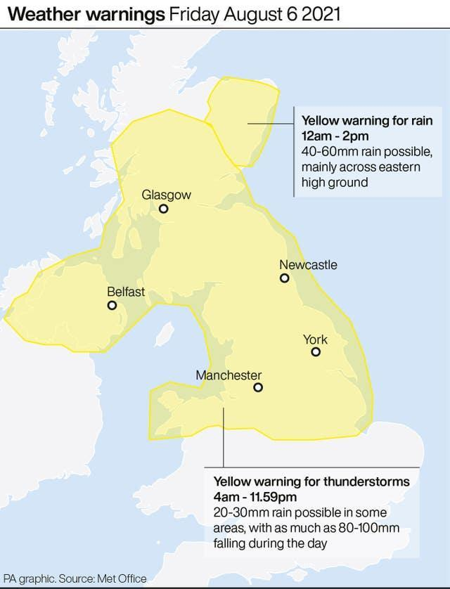 Weather warnings Friday August 6 2021