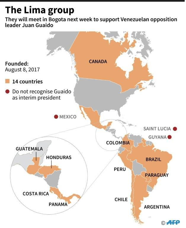 Map showing countries that are members of the Lima Group